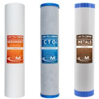 Whole House Water Filter Replacement Pack | Carbon, Sediment, & Heavy Metals Filter Cartridges | Fits 20-inch Big Blue housing