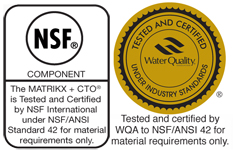 KX MATRIKX + CTO is Tested and Certified by NSF & WQA