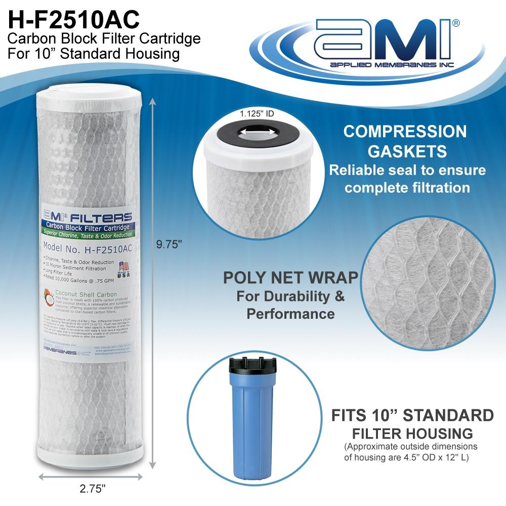 AMI Carbon Block Filter for Chlorine Taste Odor Filter Water Filter