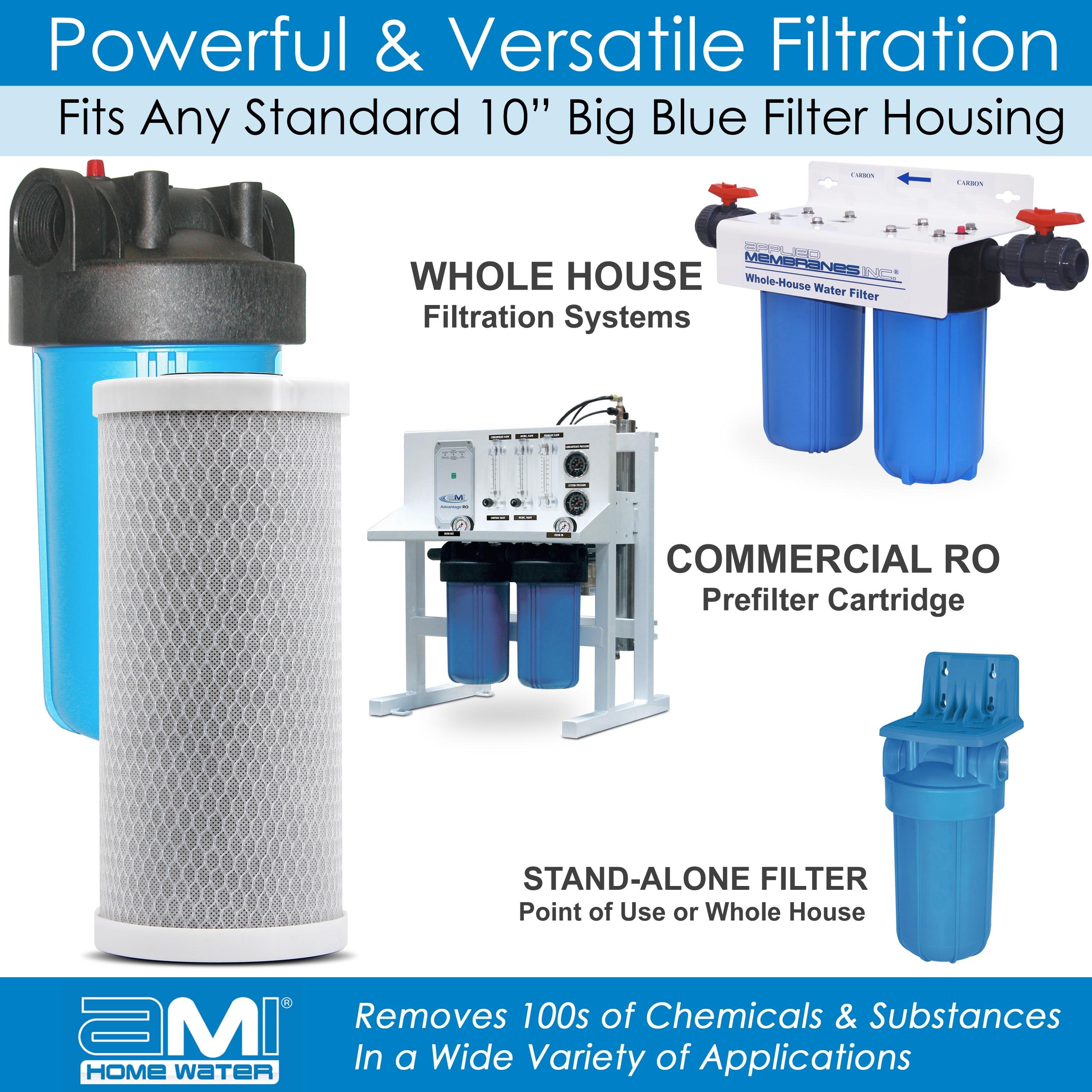 "10"" Big Blue | Carbon Block Filter Cartridge | Chlorine, Taste, Odor Water Filter | 4.25"" x 10"" | AMI"
