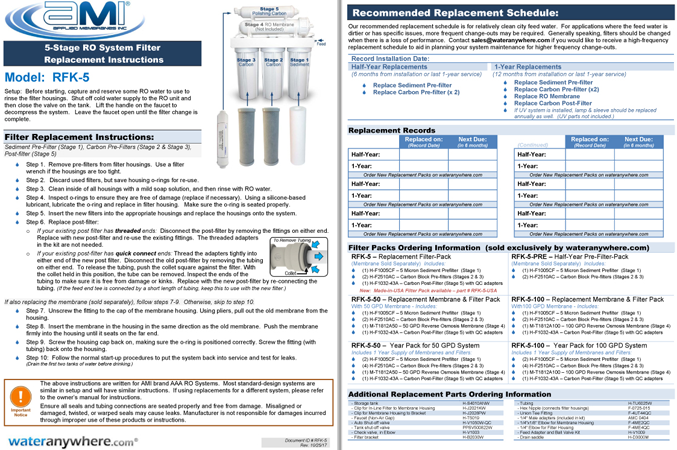 Instructions to Replace Filters for Home RO Water Filter System